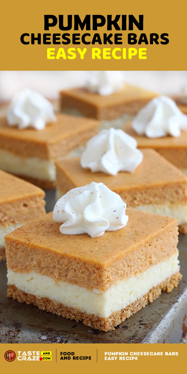 #pumpkin #pumpkincheesecake #cheesecake So easy to make and with the right amount of pumpkin flavor, these pumpkin cheesecake bars taste exactly like a cheesecake that crossed paths with a pumpkin pie – the best of both worlds!