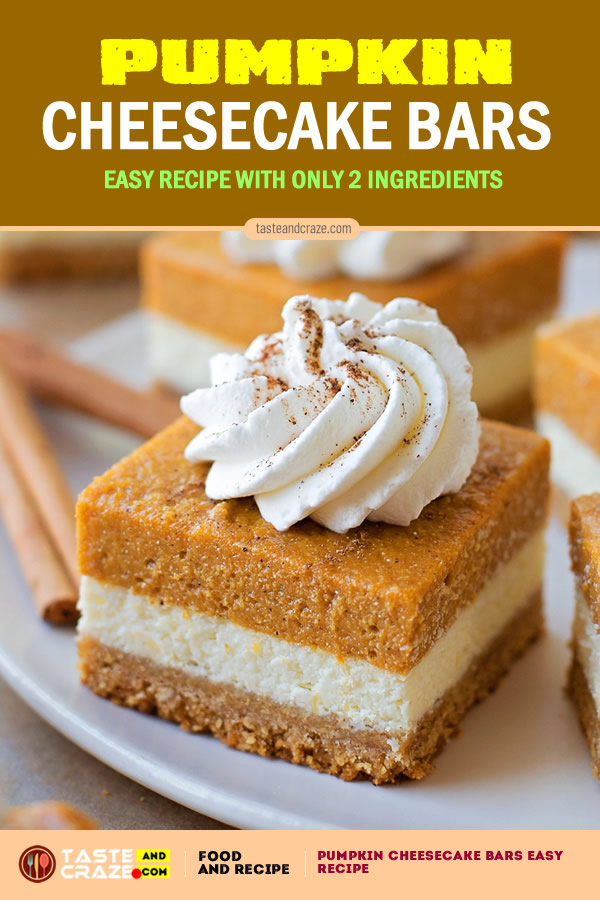 Pumpkin Cheesecake Bars Easy Recipe, with only 2 ingredients. #PumpkinCheesecakeBars #EasyRecipe #PumpkinCheesecake #PumpkinBars #CheesecakeBars #Pumpkin