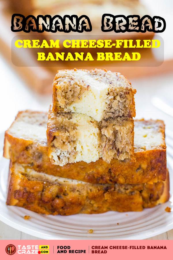 cream cheese banana bread recipe: Cream Cheese-Filled Banana Bread. This Banana Bread filled with Cream Cheese is so moist and delicious. I essentially halved my most recent and favorite banana bread recipe to date, Peach Mango Coconut Oil Banana Bread.