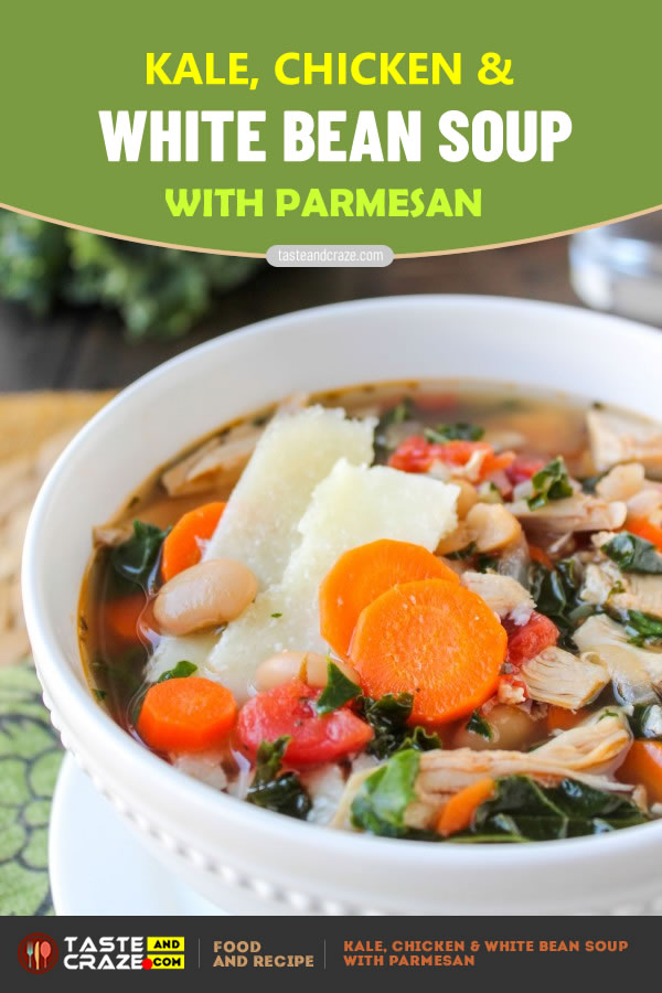 #BeanSoup #ChickenSoup #KaleSoup Kale, Chicken & White Bean Soup with Parmesan #WhiteBeanSoup  #Parmesan #ParmesanSoup #ChickenParmesan #oliveoil #ReggianoCheese