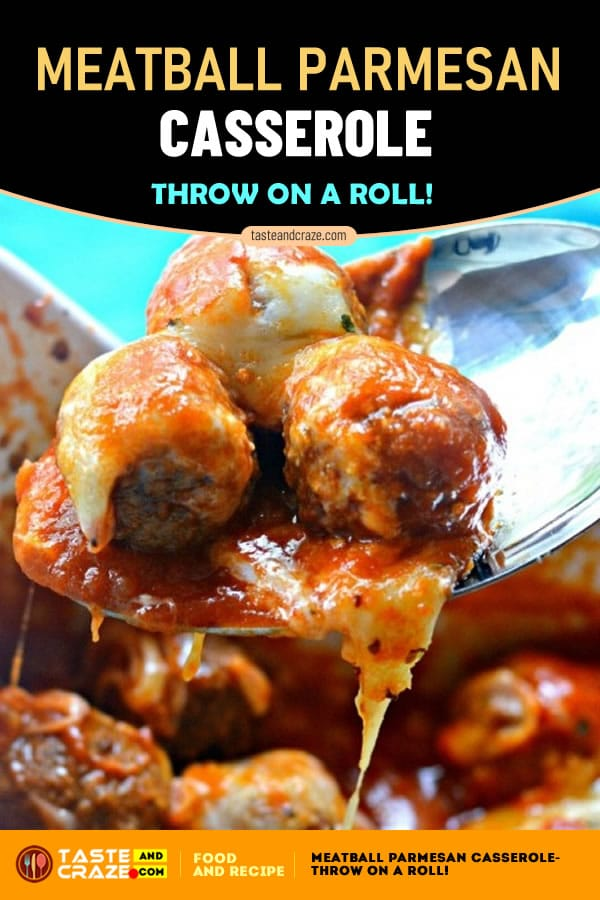 Meatball Parmesan Casserole- Throw on a Roll! #Meatball #Parmesan #Casserole #MeatballParmesanCasserole #MeatballParmesan #ParmesanCasserole #MeatballCasserole #easyrecipe #deliciousrecipe