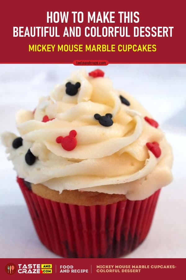How to make Mickey Mouse Marble Cupcakes- Beautiful and Colorful Dessert #MickeyMouse #MickeyMouseParty #Dessert #MarbleCupcakes #Cupcakes #Cupcake #MarbleCake #Mickey