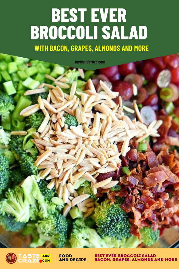 #SideDishes #SideDishesSalad #SideDishesSaladRecipes Best Ever #BroccoliSalad with #bacon, #grapes, #almonds and more