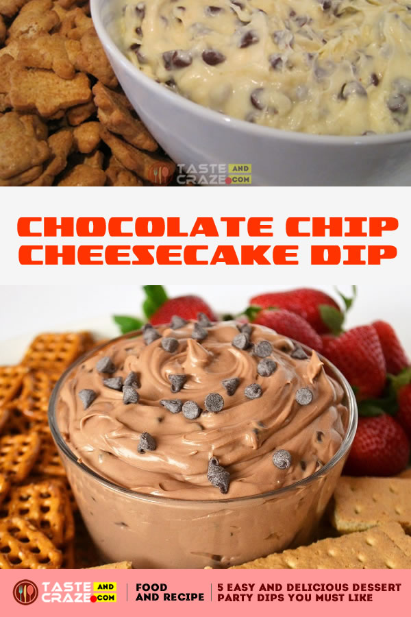 Chocolate Chip Cheesecake Dip. One of the 5 Easy and Delicious Dessert Party Dips You must like.It is so addicting. I couldn't get a grip. I kept telling myself I needed to stop, but apparently, my hand and mouth had a different plan.