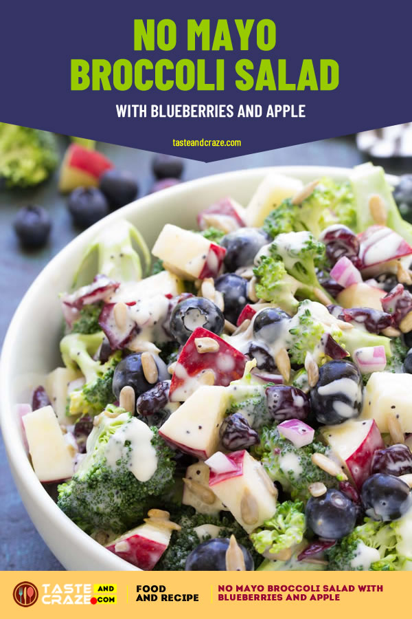 5 best ever side dishes salad recipes. No Mayo #BroccoliSalad with #Blueberries and #Apple #SideDishesSaladSecipes #SideDishesSalad #SideDishes