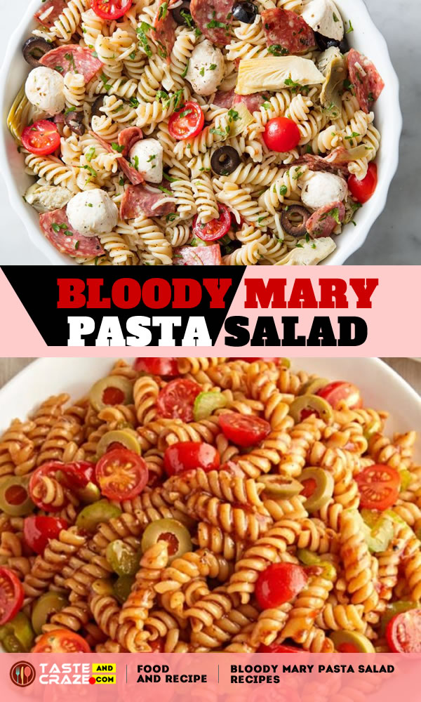 Bloody Mary Pasta Salad. Enjoy the taste of the classic cocktail with our Bloody Mary Pasta Salad. Our Bloody Mary Pasta works perfectly into a brunch menu. #BloodyMary #PastaSalad