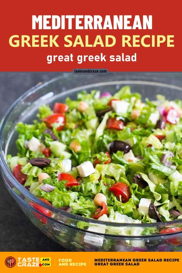Mediterranean Greek Salad is a salad of juicy #tomatoes, crisp #cucumber, sliced #redonion, #greenpepper, crumbly feta #cheese, and plump #kalamata #olives