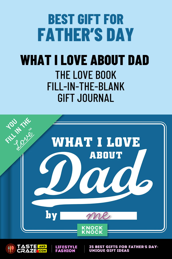 25 Best Gifts for Father's Day- Unique Gift Ideas. Knock Knock What I Love about Dad Fill in the Love Book Fill-in-the-Blank Gift Journal #Father'sDay #GiftIdea #WhatILove #BestGift #LoveBook #KnockKnock