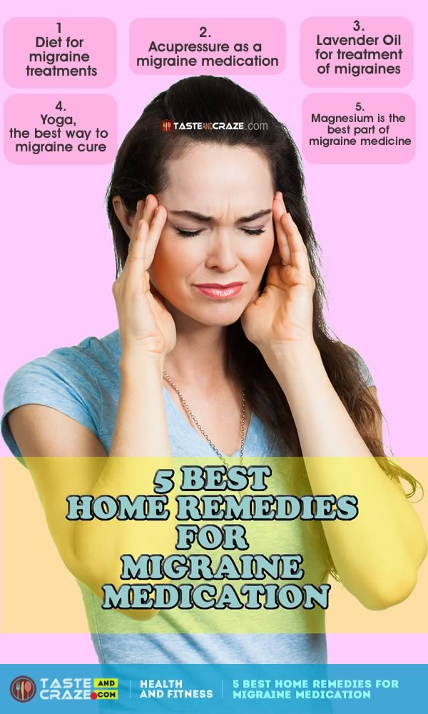 5 Best Home Remedies for Migraine Medication. A migraine is more than a typical headache. If you start to experience a migraine headache, you will experience nausea, a pounding pain, and a heightened sensitivity to sound and light. For the mild migraines, there is the option to use one of the many natural, as a migraine medication at home remedies to help reduce the duration and severity.