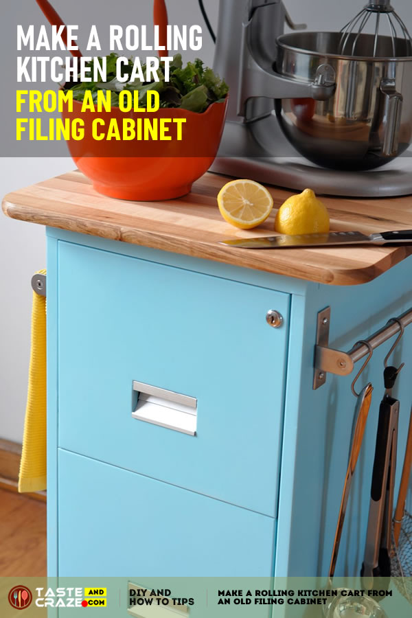 Make a Rolling Kitchen Cart From an Old Filing Cabinet. This rolling kitchen cart offers both - drawers for storage of tools, spices, or root vegetables, racks to hang towels and utensils, and a butcher-block depth for food preparation or appliance storage.