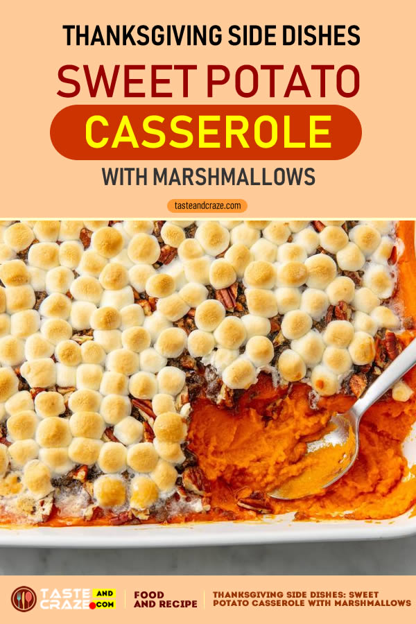 Sweet Potato Casserole With Marshmallows- Thanksgiving Side Dishes #Thanksgiving #SideDishes #ThanksgivingSideDishes #ThanksgivingDishes #ThanksgivingSideDish #Marshmallows #PotatoCasserole #Casserole #SweetPotato