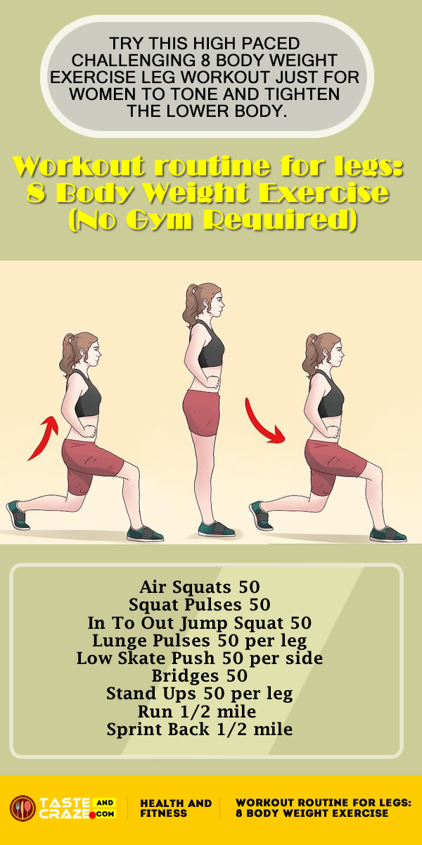 Sometimes you just don't have access to gym equipment or even a band. So, here's the best way to get tone and fit legs using just 8 Body Weight Exercises for a complete leg #workout routine that will help you tone, tighten and firm your butt and legs. Try this leg workout routine right at home when you wake up, kids are napping or on lunch break at work.