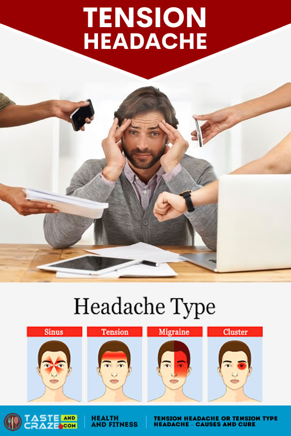 Tension headache or Tension type headache - Causes and Cure. Learn here some easy-to-follow, home methods to prevent and treat tension headaches or a tension type headache.