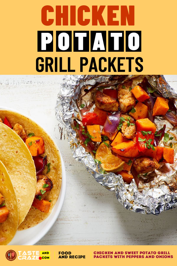 Chicken and sweet potato grill packets with peppers and onions. #PotatoGrillPackets #GrillPackets #ChickenGrillPackets #ChickenGrill