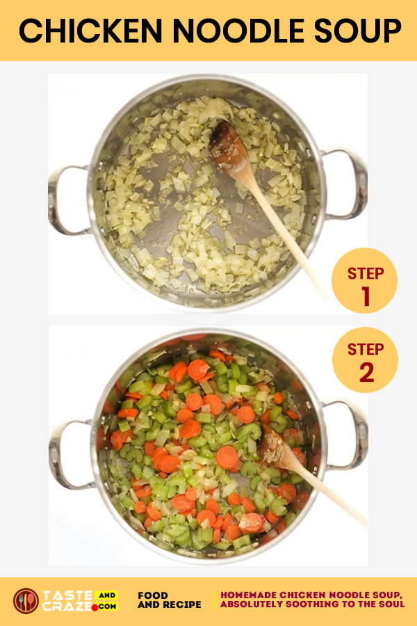Step by step instructions for Homemade Chicken Noodle Soup. Step 1-2 #ChickenSoup #NoodleSoup #HomemadeSoup #HomemadeChickenSoup #ChickenNoodleSoup