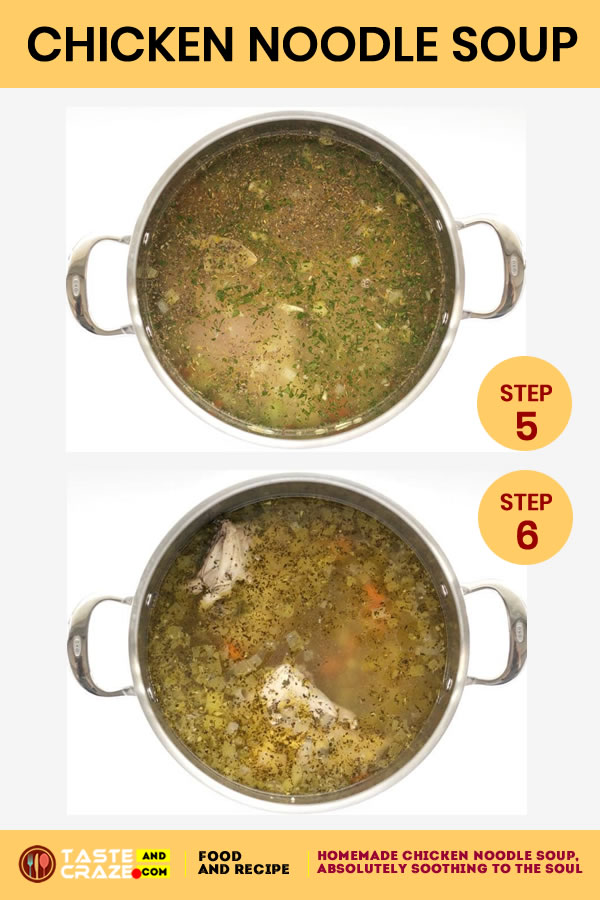 Step by step instructions for Homemade Chicken Noodle Soup. Step 5-6 #ChickenSoup #NoodleSoup #HomemadeSoup #HomemadeChickenSoup #ChickenNoodleSoup
