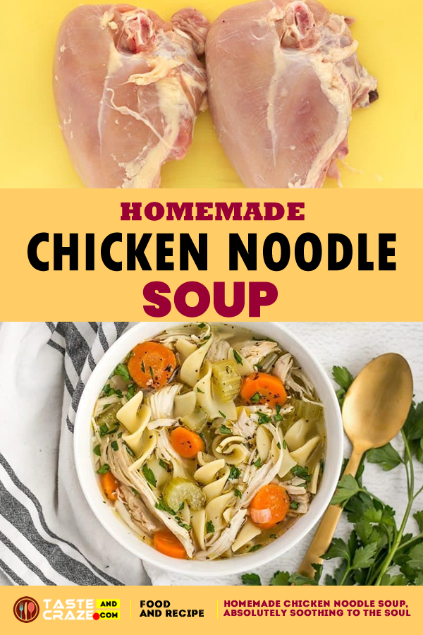 Homemade Chicken Noodle Soup. #ChickenSoup #NoodleSoup #HomemadeSoup #HomemadeChickenSoup #ChickenNoodleSoup