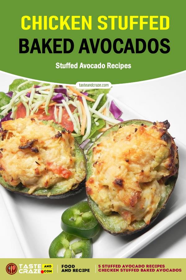 Chicken stuffed baked avocados- 5 stuffed avocado recipes #StuffedAvocadoRecipes #StuffedAvocado #AvocadoRecipes #ChickenStuffed #BakedAvocados