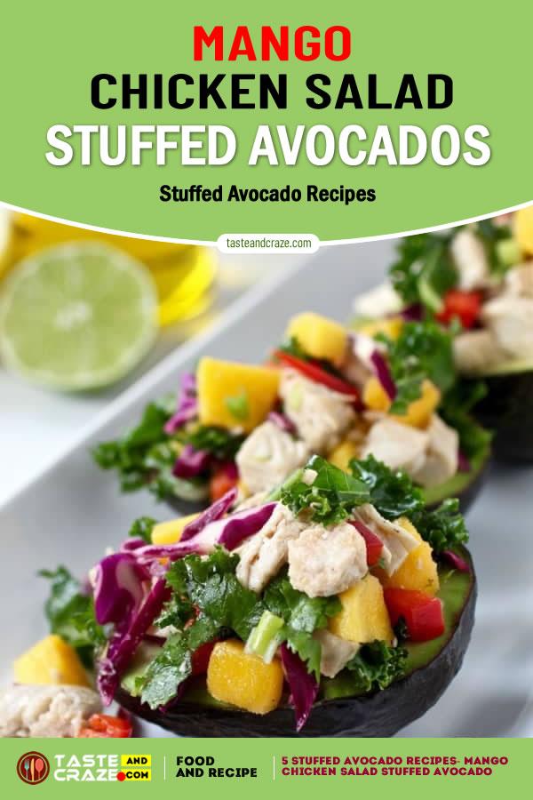 Mango Chicken Salad with Avocado- 5 stuffed avocado recipes #StuffedAvocadoRecipes #StuffedAvocado #AvocadoRecipes #MangoChickenSalad #ChickenSalad