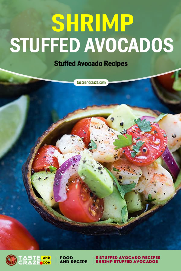 Shrimp Stuffed Avocados- 5 stuffed avocado recipes #StuffedAvocadoRecipes #StuffedAvocado #AvocadoRecipes #ShrimpStuffedAvocados #ShrimpStuffed #ShrimpAvocados