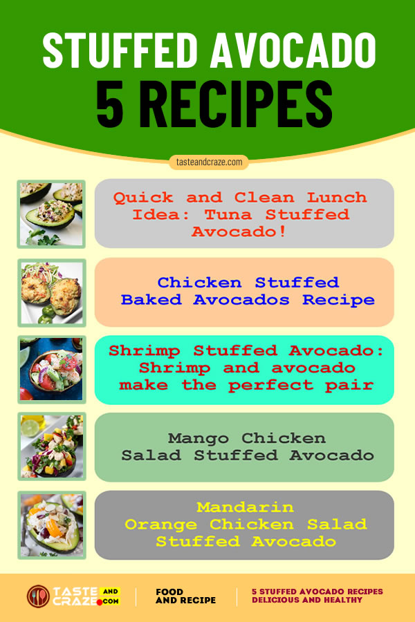5 stuffed avocado recipes- delicious low-carb and healthy. #StuffedAvocadoRecipes #StuffedAvocado #AvocadoRecipes
