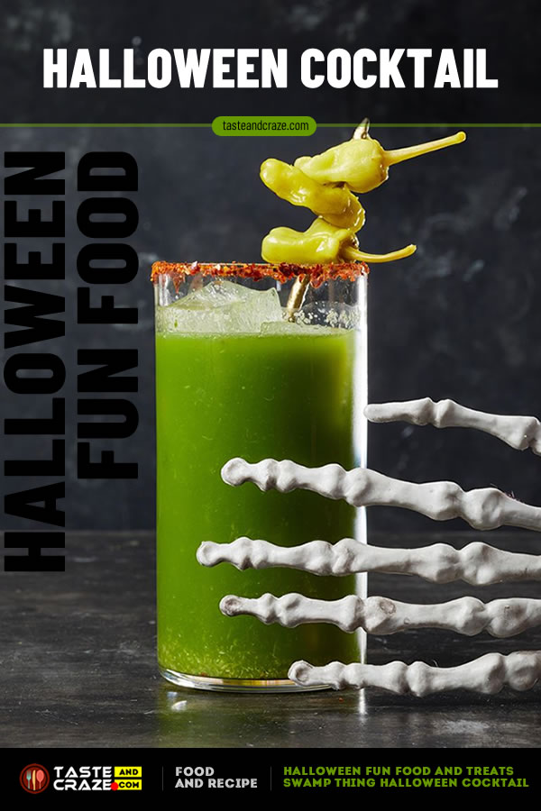 Swamp Thing Halloween Cocktail- Halloween Fun Food and Treat- 5 great ideas #Halloween #HalloweenFunFood #FunFood #HalloweenCocktail #SwampThing
