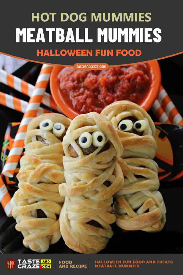Meatball Mummies- Hot Dog Mummies. Halloween Fun Food and Treats- 5 Great Ideas #Halloween #HalloweenFunFood #FunFood #MeatballMummies #Meatball #HotDogMummies #HotDog #HotMummies