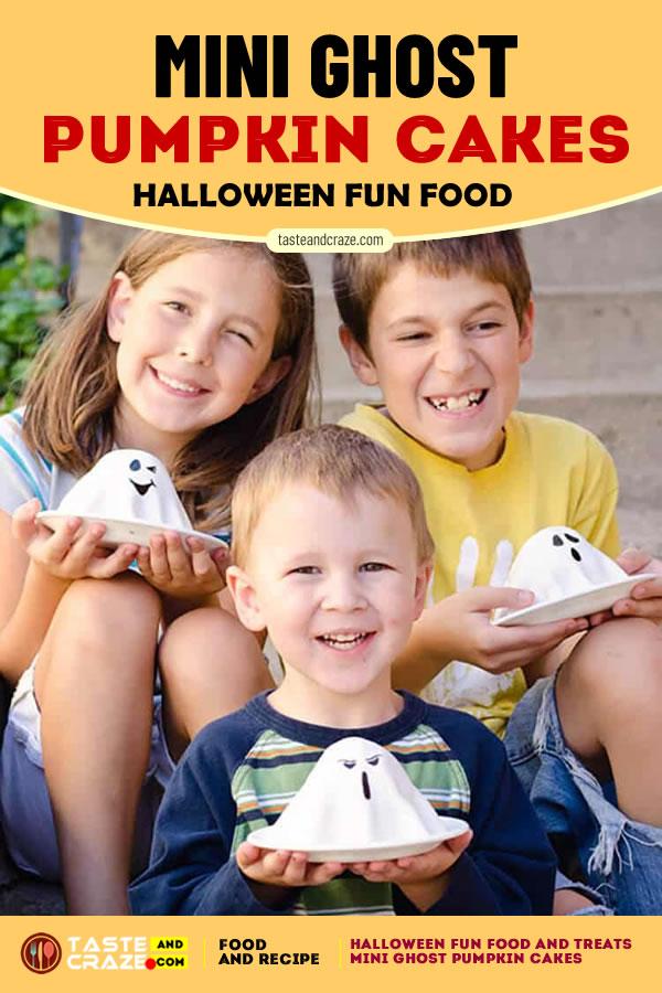 Mini Ghost Pumpkin Cakes. Halloween Fun Food and Treats- 5 Great Ideas #Halloween #HalloweenFunFood #FunFood #GhostPumpkinCakes #PumpkinCakes #Pumpkin