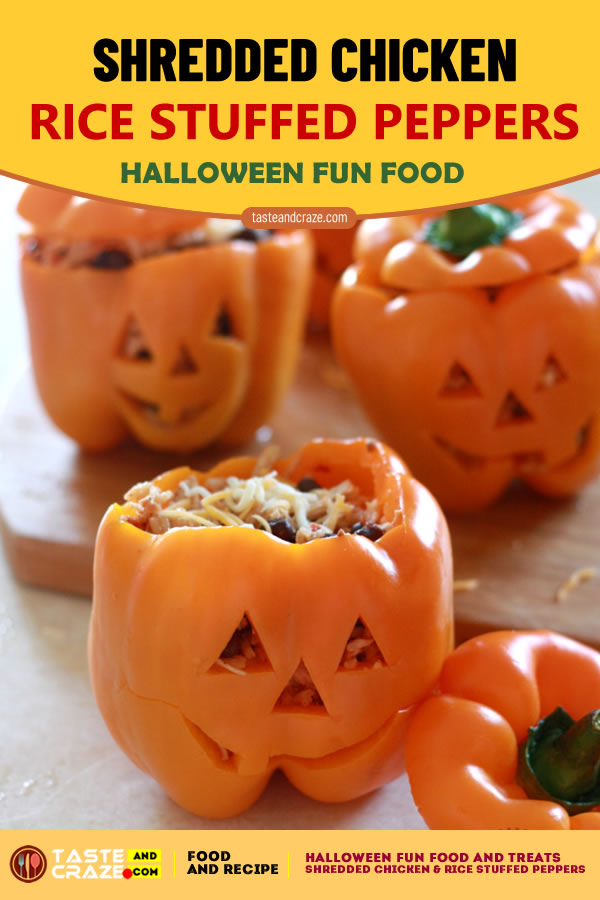 Shredded Chicken & Rice Stuffed Peppers. Halloween Fun Food and Treats- 5 Great Ideas #Halloween #HalloweenFunFood #FunFood #ShreddedChicken #RiceStuffedPeppers #StuffedPeppers #Peppers