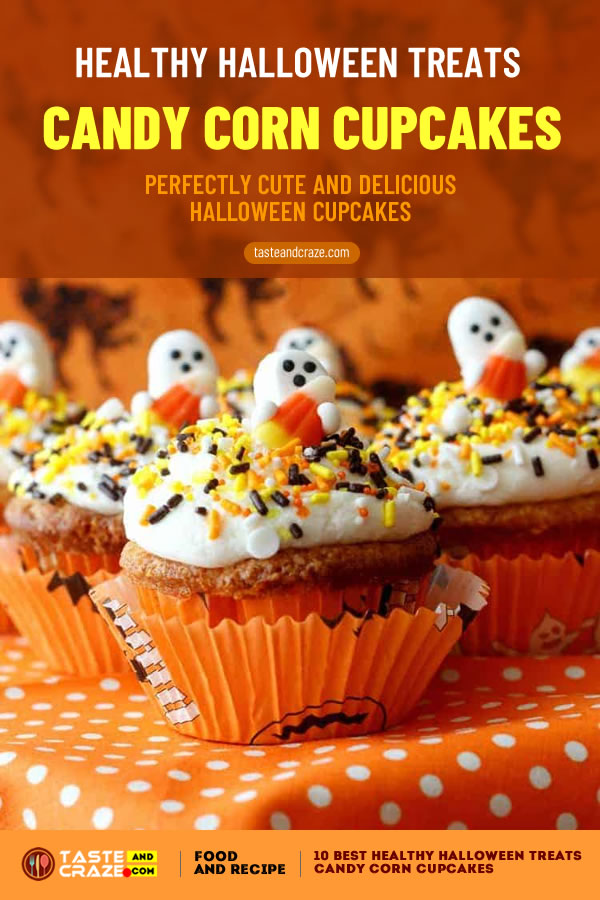 Candy Corn Cupcakes - Perfectly Cute and Delicious #HalloweenCupcakes. Healthy Halloween treats- 10 best ideas for 2019 #HealthyHalloweenTreats #HealthyHalloween #HalloweenTreat #CandyCornCupcakes #CornCupcakes