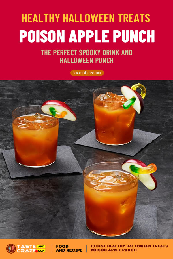 Poison Apple Punch The Perfect #HalloweenDrink Healthy Halloween treats- 10 best ideas for 2019 #HealthyHalloweenTreats #HealthyHalloween #HalloweenTreat #PoisonApplePunch #ApplePunch #HalloweenPunch