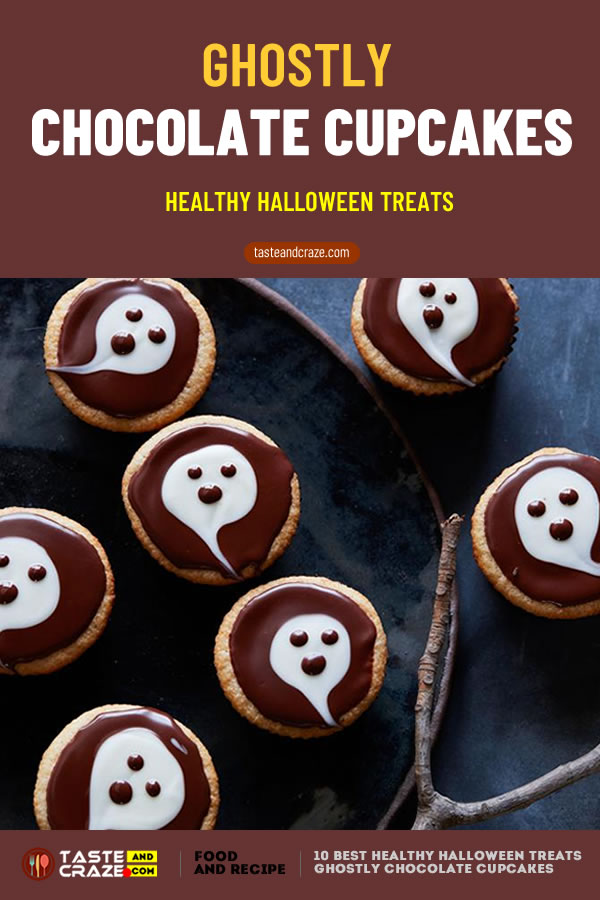 Ghostly Chocolate Cupcakes - Healthy Halloween treats- 10 best ideas for 2019 #HealthyHalloweenTreats #HealthyHalloween #HalloweenTreat #GhostlyChocolateCupcakes #ChocolateCupcakes #Cupcakes #GhostlyCupcakes