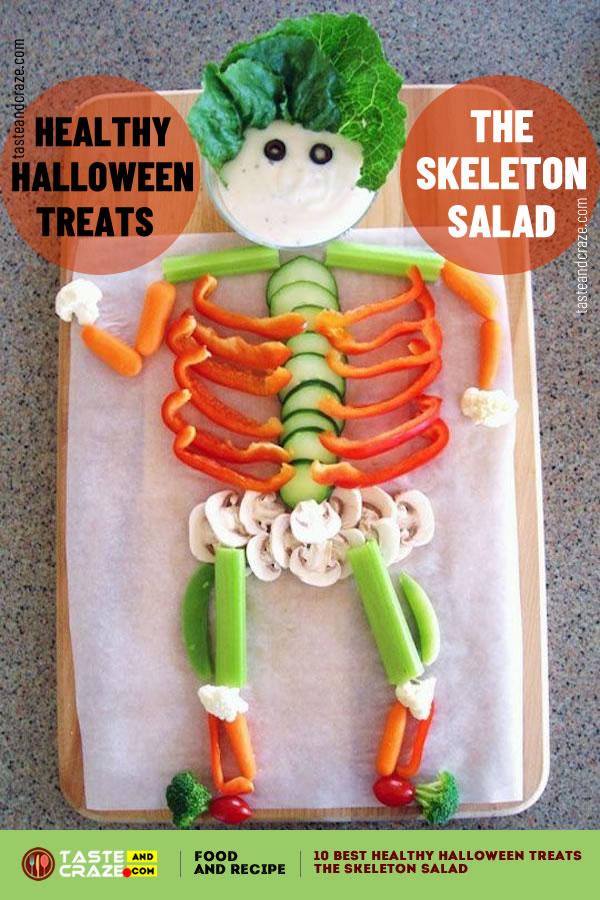 The Skeleton Salad - Healthy Halloween treats- 10 best ideas for 2019 #HealthyHalloweenTreats #HealthyHalloween #HalloweenTreat #SkeletonSalad #HalloweenSalad