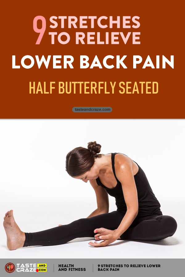 Half Butterfly Seated - 9 Stretches to Relieve Lower Back Pain #DragonPose #LowerBackPain #BackPain #LowerPain #PainRelieve #Yoga #StretchestoRelievePain #RelievePain
