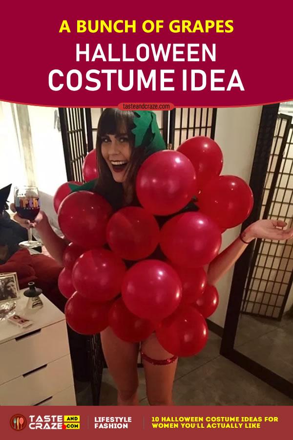 Halloween Costume Ideas for Women - A Bunch of Grapes #HalloweenIdeas #HalloweenCostume #CostumeIdeas #HalloweenCostumeIdeas #BunchofGrapes #Grapes #WomenCostume #Halloween2019