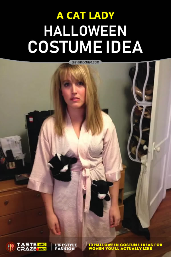 A Halloween Cat Lady- Halloween Costume Ideas for Women. #Halloween2019 #CostumeIdeas #HalloweenIdeas #HalloweenCostume #HalloweenCostumeIdeas #WomenCostume #CatLady
