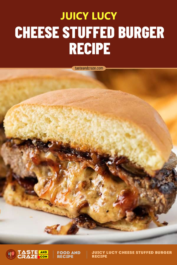 Juicy Lucy Cheese Stuffed Burger Recipe. Not an average #cheeseburger, this #burger is stuffed with caramelized #onions and plenty of buttery sharp #cheddar #cheese! #JuicyLucy #CheeseStuffed #BurgerRecipe