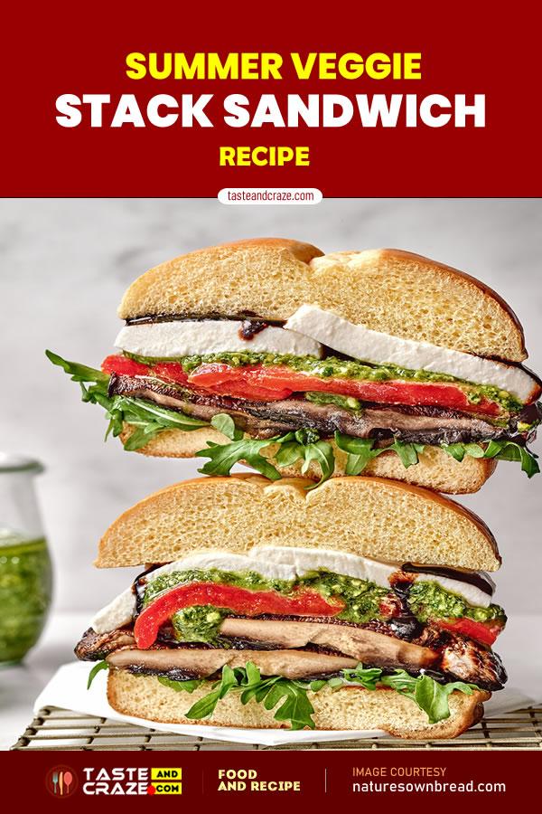 Summer Veggie Stack Sandwich Recipe #SummerVeggie #Summer #Veggie #StackSandwichRecipe #StackSandwich #SandwichRecipe #Sandwich #VeggieStackSandwich #VeggieSandwich #BriocheStyleBuns #Briochebuns #buns #hamburgerbuns #hamburger #fructose #mushrooms #redpeppers #oliveoil #vinegar #oregano #basilpesto #mozzarella #chiliflakes